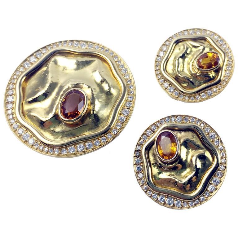 Yellow Sapphire Diamond Gold Pendant and Earrings Set