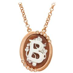 "Amedeo Intial ""B"" Cameo Necklace"