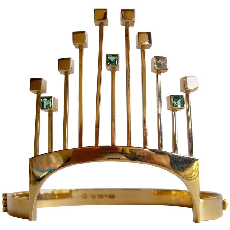 Paula Haivaoja for Kaunis Koru Tourmaline Gold Cuff Bracelet For Sale