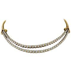Round Diamond Gold Choker Necklace