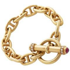 Gold Anchor Link Bracelet with Ruby and Diamond Set Toggle Clasp