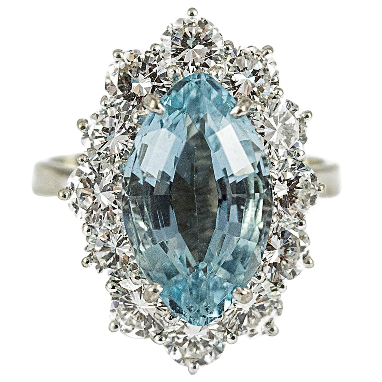 Custommade Diamond: Custom Made Aquamarine Diamond Gold Ring For Sale At 1stdibs