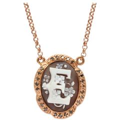 "Amedeo Initial ""E"" Cameo Necklace"