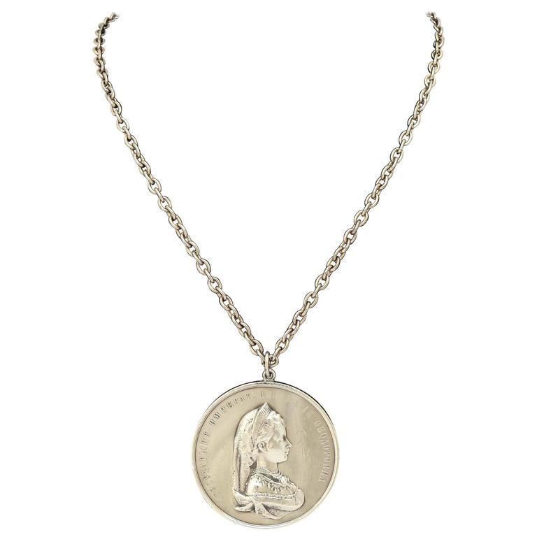 1890s Russian Silver Empress Maria Feodorovna Medallion For Sale