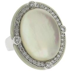 Ivanka Trump Mother of Pearl Crystal Enamel Diamond Gold Ring