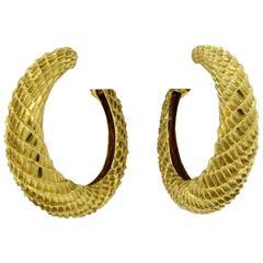 Boucheron Paris Large Gold Textured Hoop Earrings