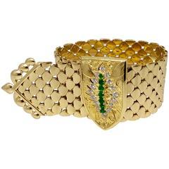 Kutchinsky Wide Emerald Diamond Gold Buckle Bracelet