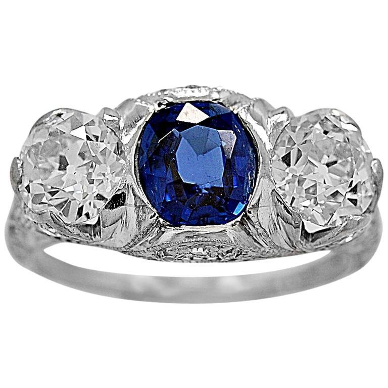 1.25 Carat Sapphire Diamond Platinum 3 Stone Engagement Ring