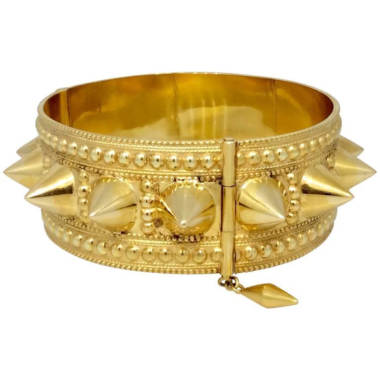 Wide Spiked Gold Cuff Bangle Bracelet