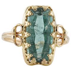 3.5 Carat Emerald Cut Tourmaline Gold Ring