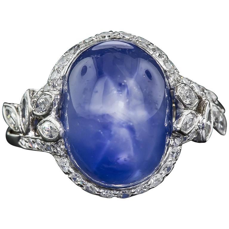 19 Carat No-Heat Burma Star Sapphire and Diamond Late Art Deco Ring