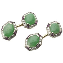 Fine Pair of Art Deco Jade Ruby Diamond Gold Platinum Cufflinks