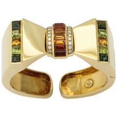 1980s Sabbadini Italy Citrine Peridot Diamond Gold Bowtie Cuff Bracelet