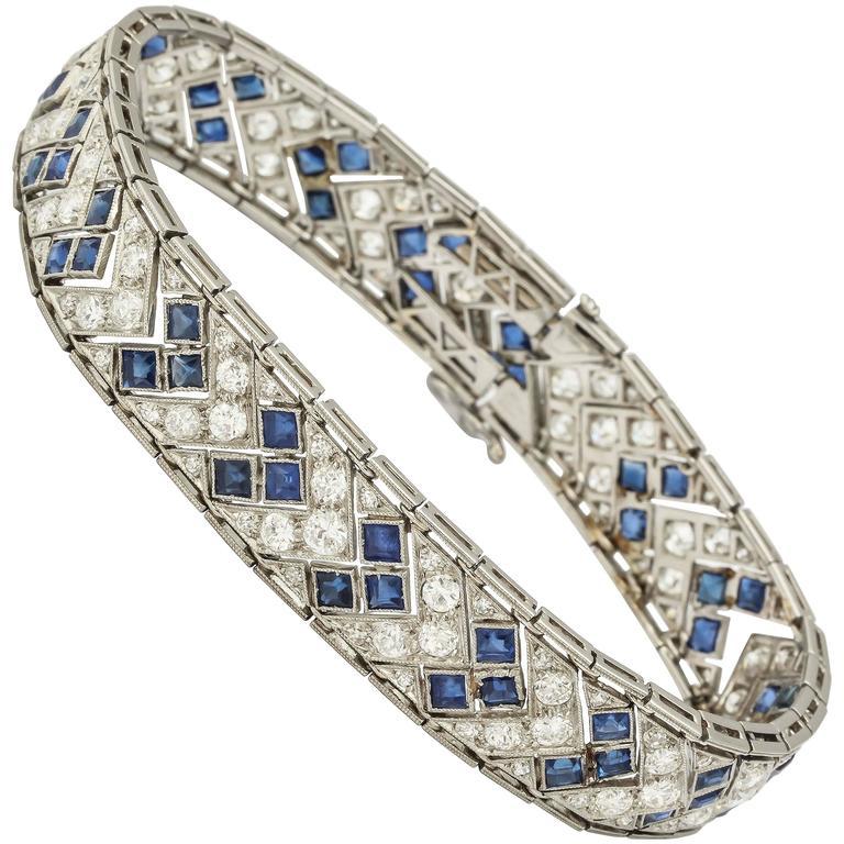 1920s Art Deco French Cut Sapphire Diamond Platinum Flexible Bracelet 1