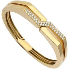 1970s Van Cleef & Arpels Diamond Gold Handcuff Slip-On Bangle Bracelets