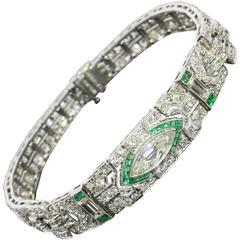 1920s Incredible Antique Art Deco Emerald Diamond Gold Bracelet