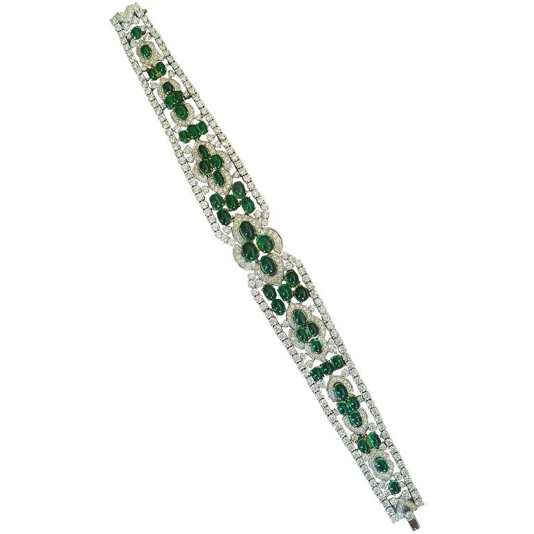 Cabochon Emerald Diamond Two Color Gold Bracelet