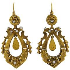 Antique Pearl Gold Dangle Earrings