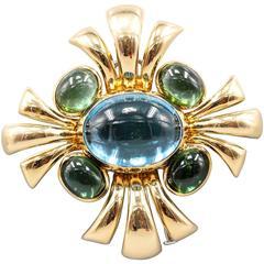 Verdura Cabana Blue Topaz Green Tourmaline Gold Brooch