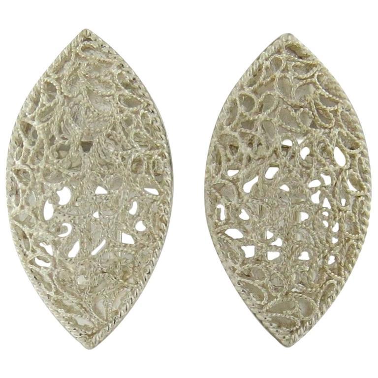 Buccellati Filidoro Silver Marquise Openwork Earrings For Sale