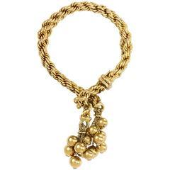 1950s Marchak Diamond Gold Tassel Bracelet