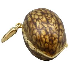 Italian Enamel Gold Walnut Shaped Pill Box