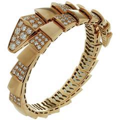 Bulgari Serpenti Demi Pave Diamond Rose Gold Bracelet. Box Papers