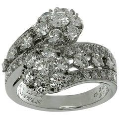 Van Cleef & Arpels Snowflake Diamond Platinum Two Flower Ring