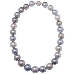 Magnificent Very Large Tahitian Multicolored South Sea Pearl Necklace
