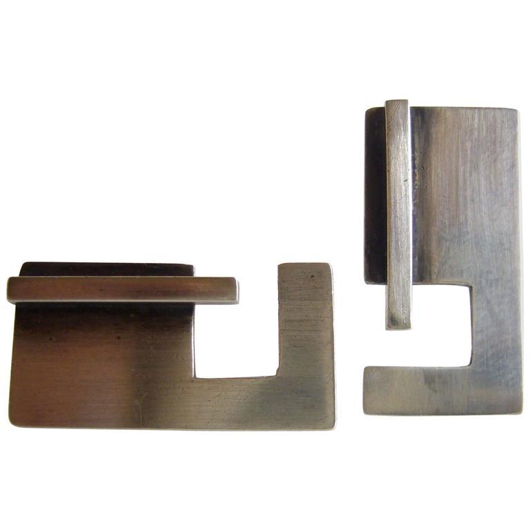 Bill Tendler Sterling Silver American Modernist Cufflinks