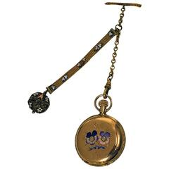 Elgin Ladies Yellow Gold Diamond Enamel Hunter Pocket Watch, circa 1988