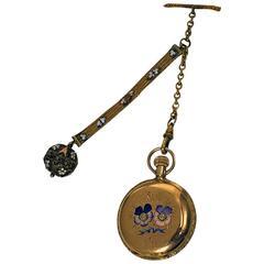 Elgin Lady's Enamel Gold Diamond Hunter Pocket Watch