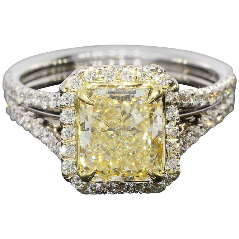 2 14 carat cert yellow radiant gold halo