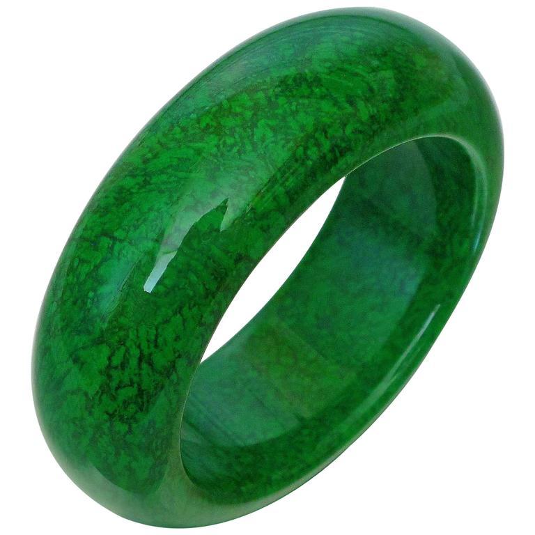 Natural Maw Sit Sit Jade Statement Bangle Bracelet For