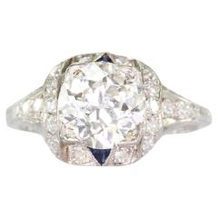 Art Deco 2.25 Carat Old European Diamond Sapphire Platinum Engagement Ring
