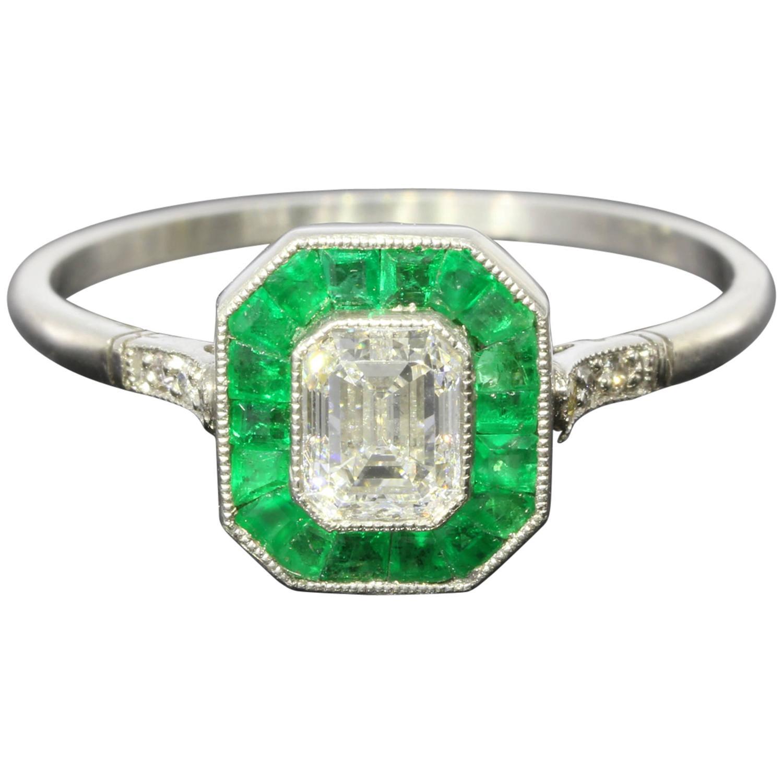 54 Carat Diamond Emerald Platinum Halo Engagement Ring At 1stdibs