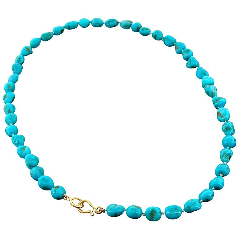 Victor Velyan Turquoise Bead Necklace For Sale