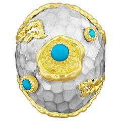 Victor Velyan Turquoise Ring in White Patina