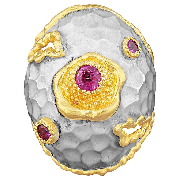 Victor Velyan Pink Sapphire Ring in White Patina