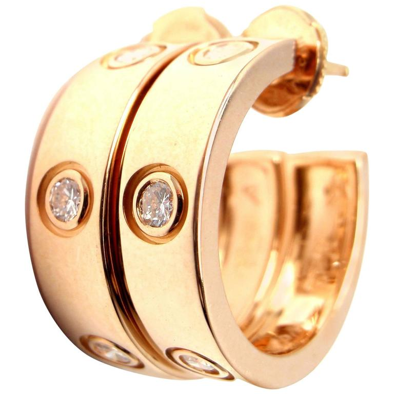 Cartier Love Diamond Gold 150th Anniversary Limited Edition Hoop Earrings