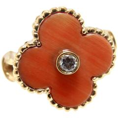 Van Cleef & Arpels Vintage Alhambra Coral Diamond Gold Ring