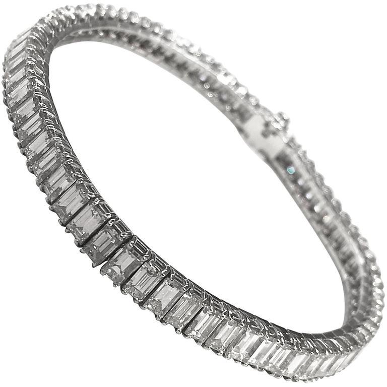 Baguette Cut Diamonds Platinum Bracelet At 1stdibs