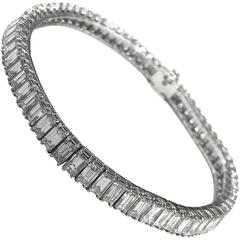 Baguette Cut Diamonds Platinum Bracelet