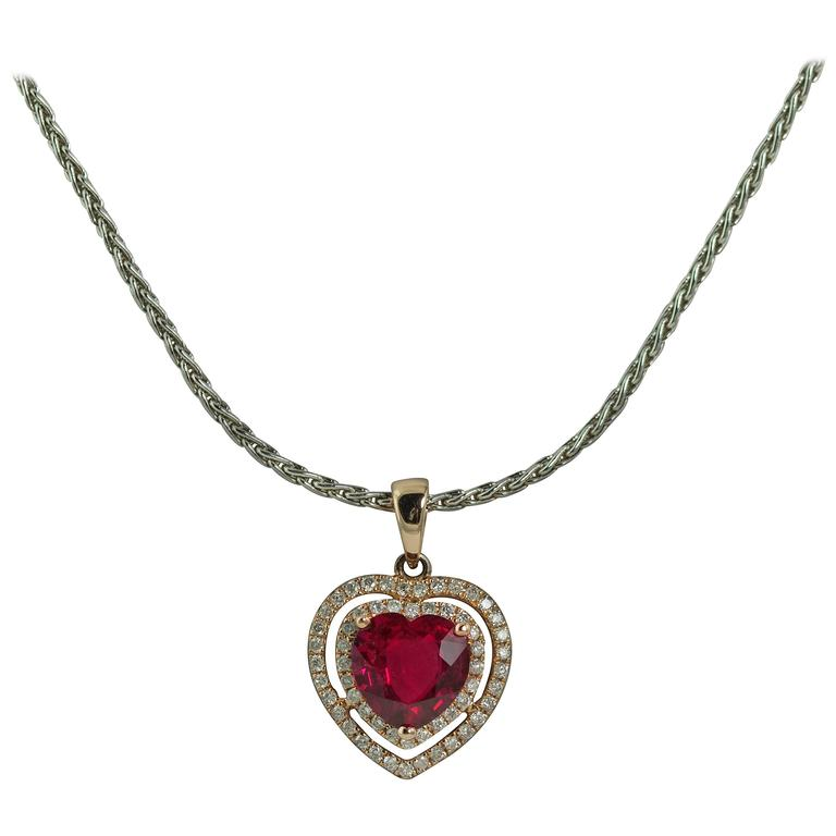 Heart Shaped Ruby Diamond Gold Necklace  1