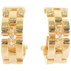 Cartier Panthere Diamond Gold Hoop Earrings