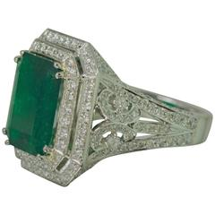 Gubelin Cert 6.81 Carat Emerald Diamond Platinum Ring