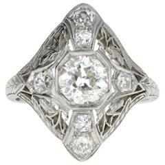 Art Deco Filigree Platinum 1.5 Carat Diamond Engagement Ring