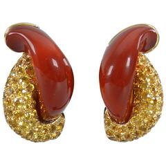 Seaman Schepps Carnelian Yellow Sapphire Gold Half Link Earrings