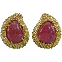 Verdura Ruby Diamond Gold Clip Earrings