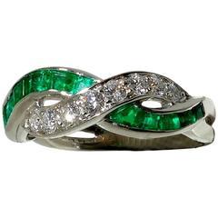 Oscar Heyman Emerald Diamond Platinum Band Ring